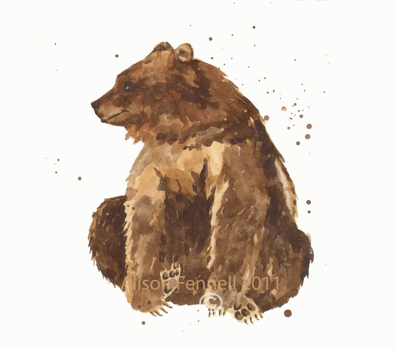 Bear Watercolor Print 8x10 Print Bear Painting Baby Boy