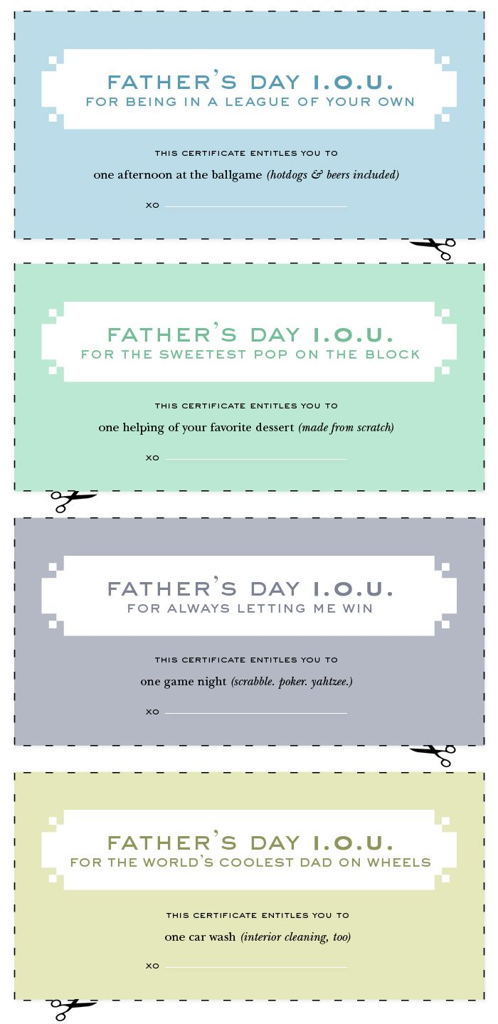 Printable Fathers Day IOUs From Kate Spade
