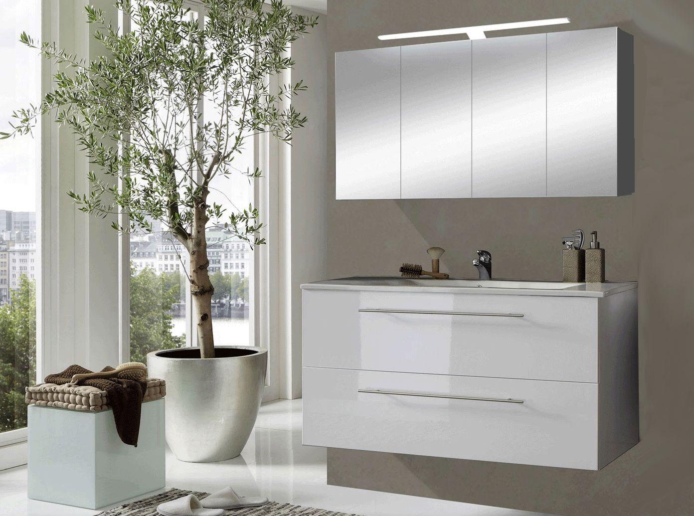 SAM® 2tlg. Badezimmer Set Spiegelschrank weiß 120 cm Rom Auf Lager ...