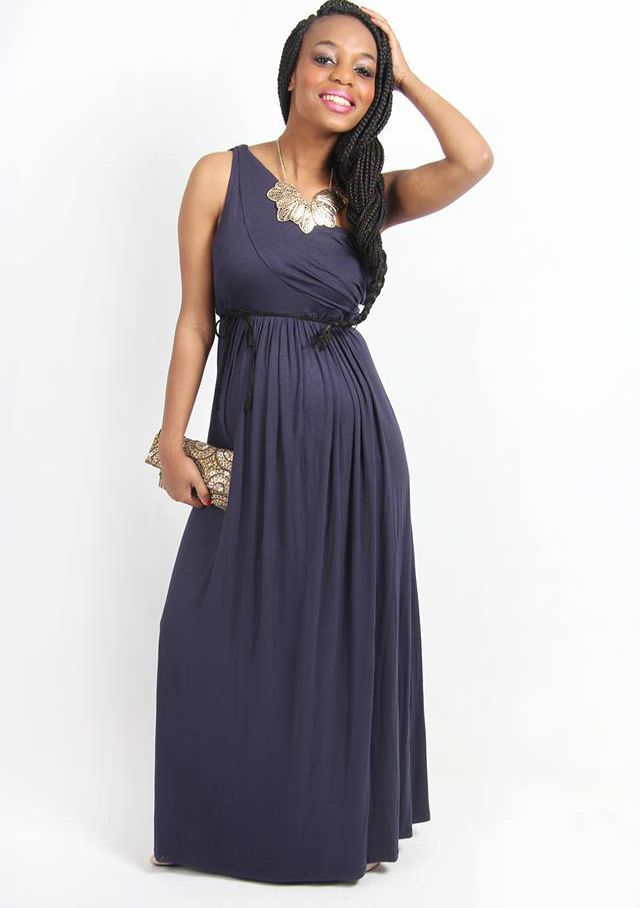 Label of Love Navy Pleated One Shoulder Long Dress | Maternity Lane ...
