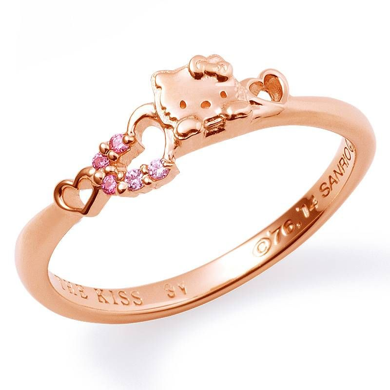 Pretty Cutie Design Crystal Pink Flower Hello Kitty Ring For Kid Girl Women