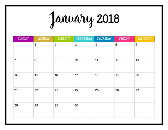 2018 PRINTABLE Calendar 2018 Wall Calendar 8 1 2 X 11 Happy Planner