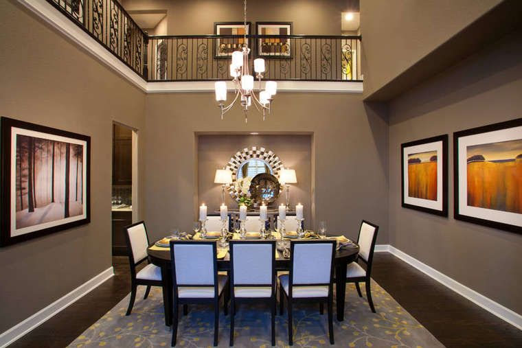 Dark Floor And Gray Walls In Dining Room Would Work Well