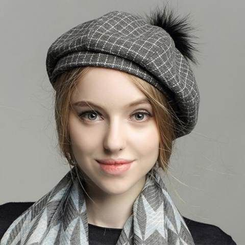 Plaid beret hat with ball on top for women fashion casual wool hats ... c9d4251f982