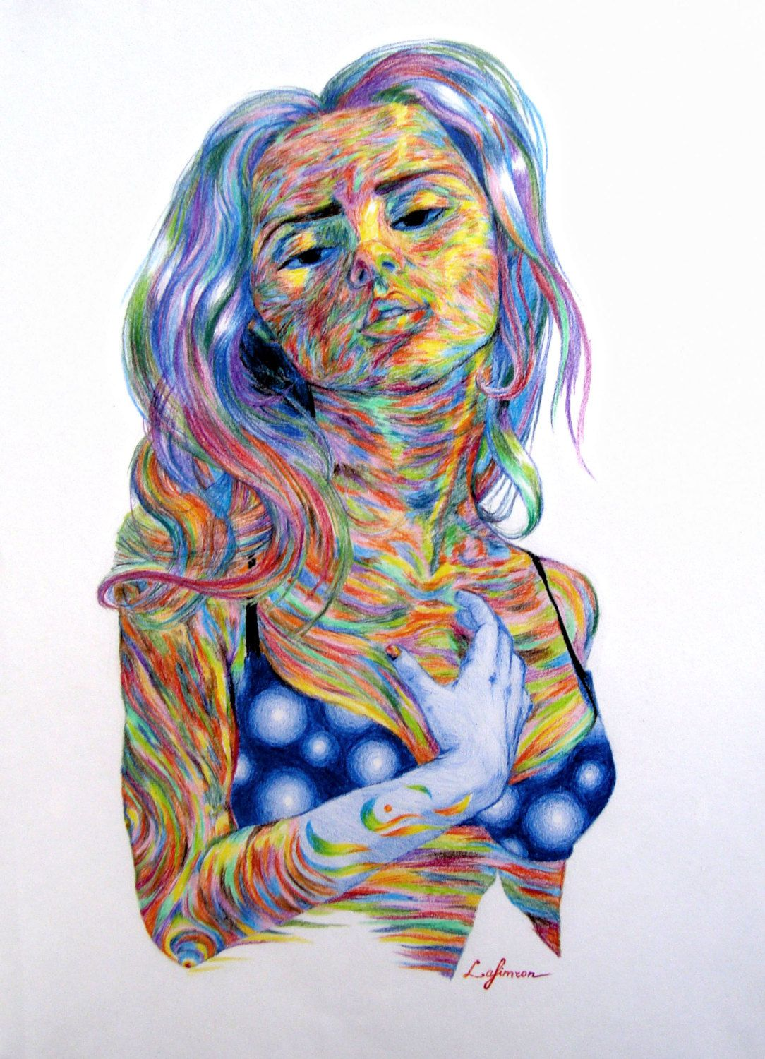 Color art colored pencils - Psychedelic Painting Rainbow Colouring Colored Pencil Art Colorful Drawing Lights Art Blue Yellow Red Art Bright Color Rainbow Drawing