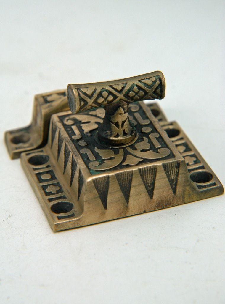 Antique Victorian Ornate Cabinet Latch Cast Bronze T Turn C-1880, AH07041311 - P & P collectibles & Antiques