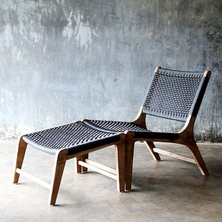 Delightful Oceans 2pc Wood Lounge Chair And Ottoman
