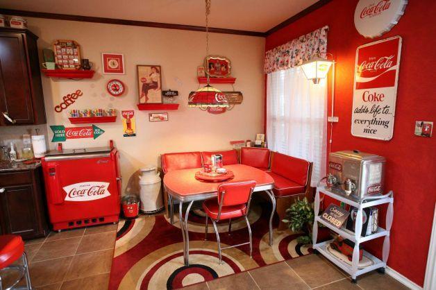Coca cola themed kitchen home diner pinterest for Diner home decor