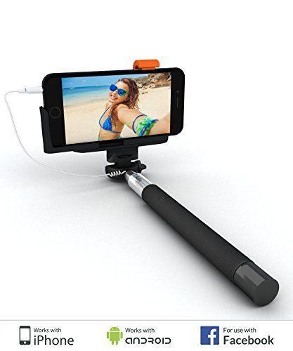 SELFIE WORLD® Easy Plug 'n Play Selfie Stick - Takes Selfies