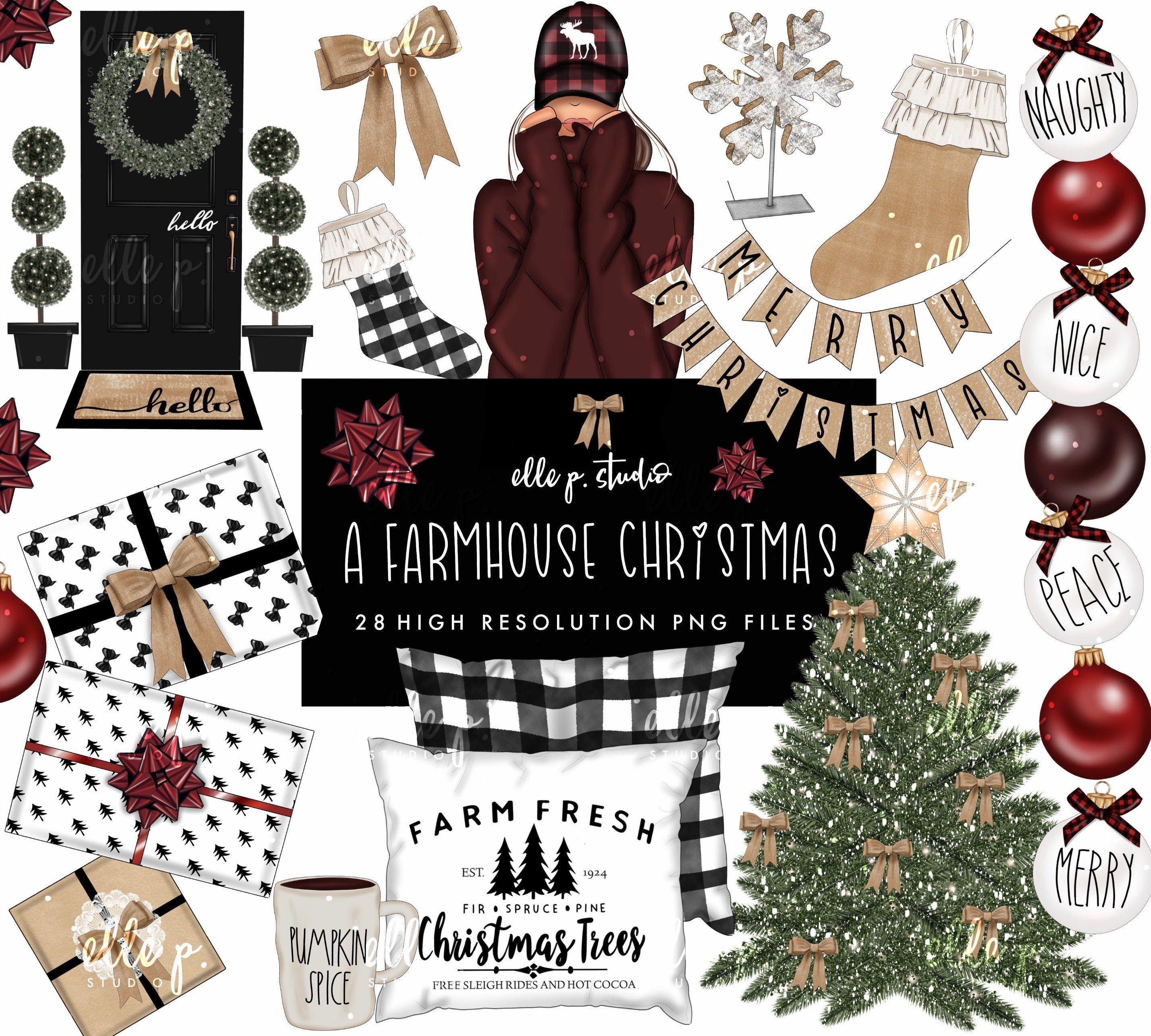 Farmhouse Christmas Clipart Bundle Farmhouse Christmas Holiday Clipart Snowflake Decorations