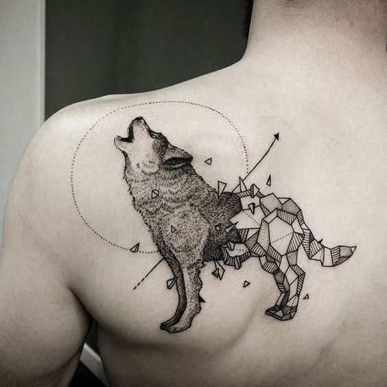 Howling Wolf With Chipped Geometric Body Shoulder Tattoo Geometric Wolf Tattoo Wolf Tattoo Design Small Tattoos