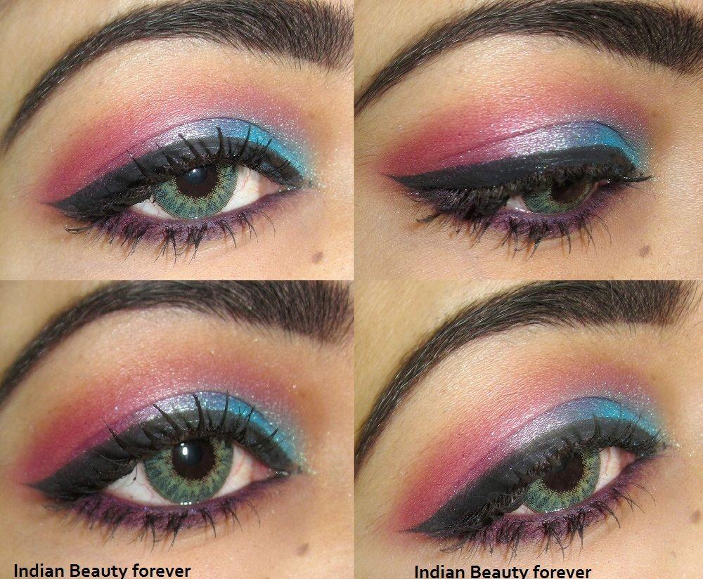 Indian eye makeup Pink Blue colorful Eye makeup Tutorial