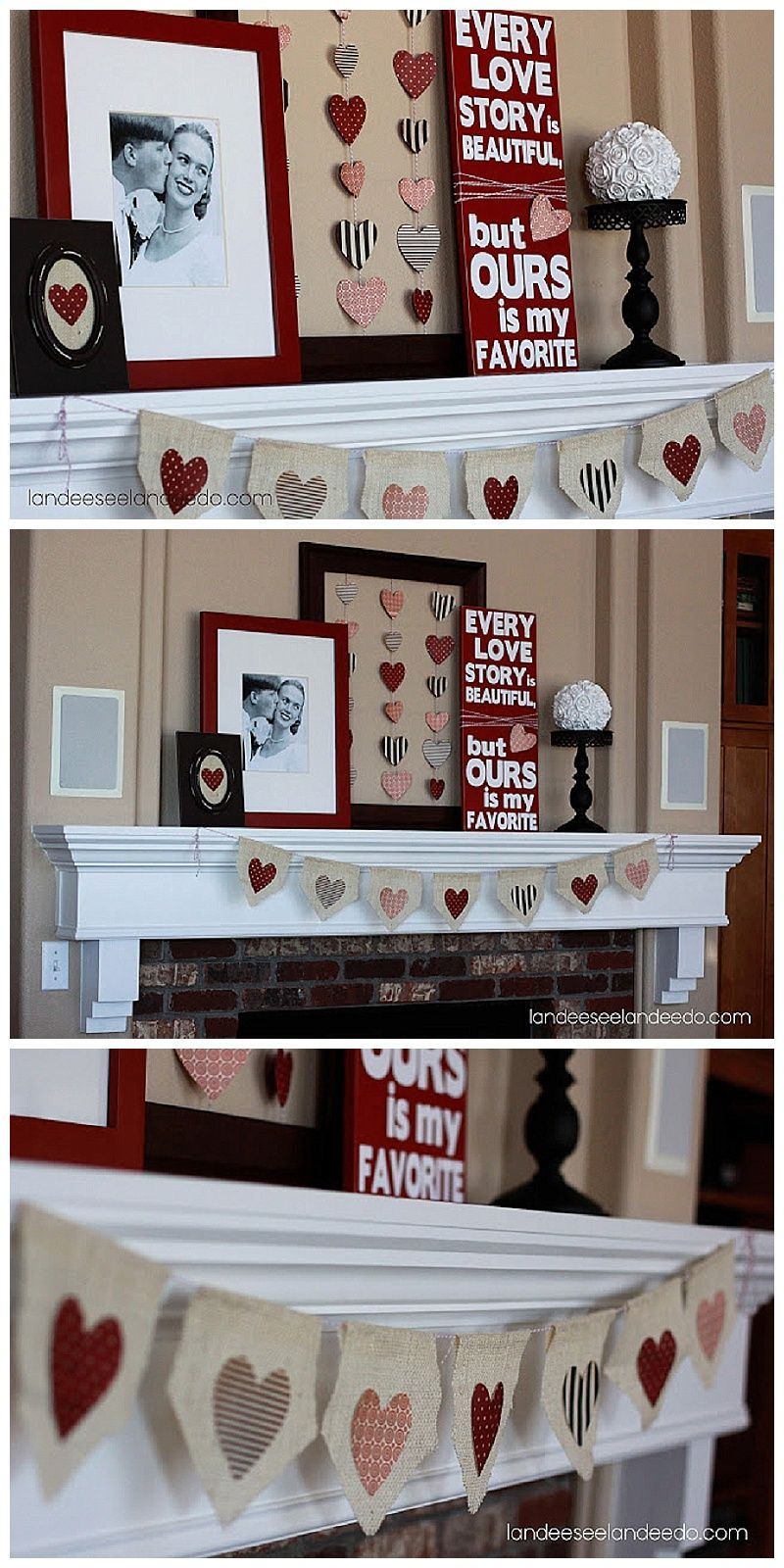 Super Cute Valentineu0027s Day Mantel Decoration Ideas With DIY Tutorials!  Burlap And Hearts Rustic Theme