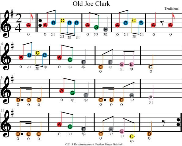 color coded beginner violin or fiddle sheet music for old joe clark ...
