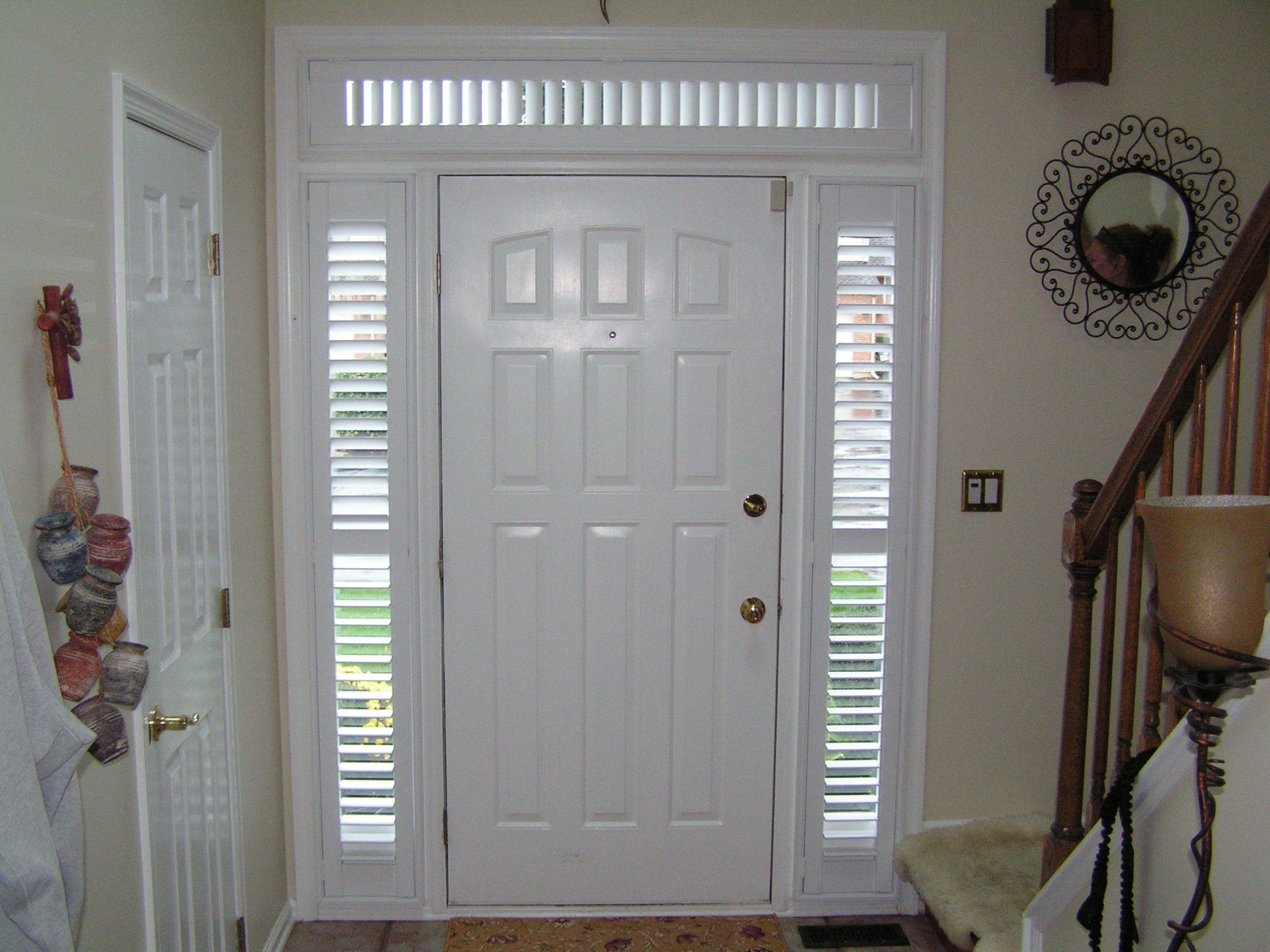Shutters On Door Sidelites And Transoms Are My New Favorite Thing Transom Window Treatments Window Styles Shutters