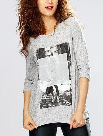 Tee-shirt chiné imprimé photo                                                                     gris chiné Femme