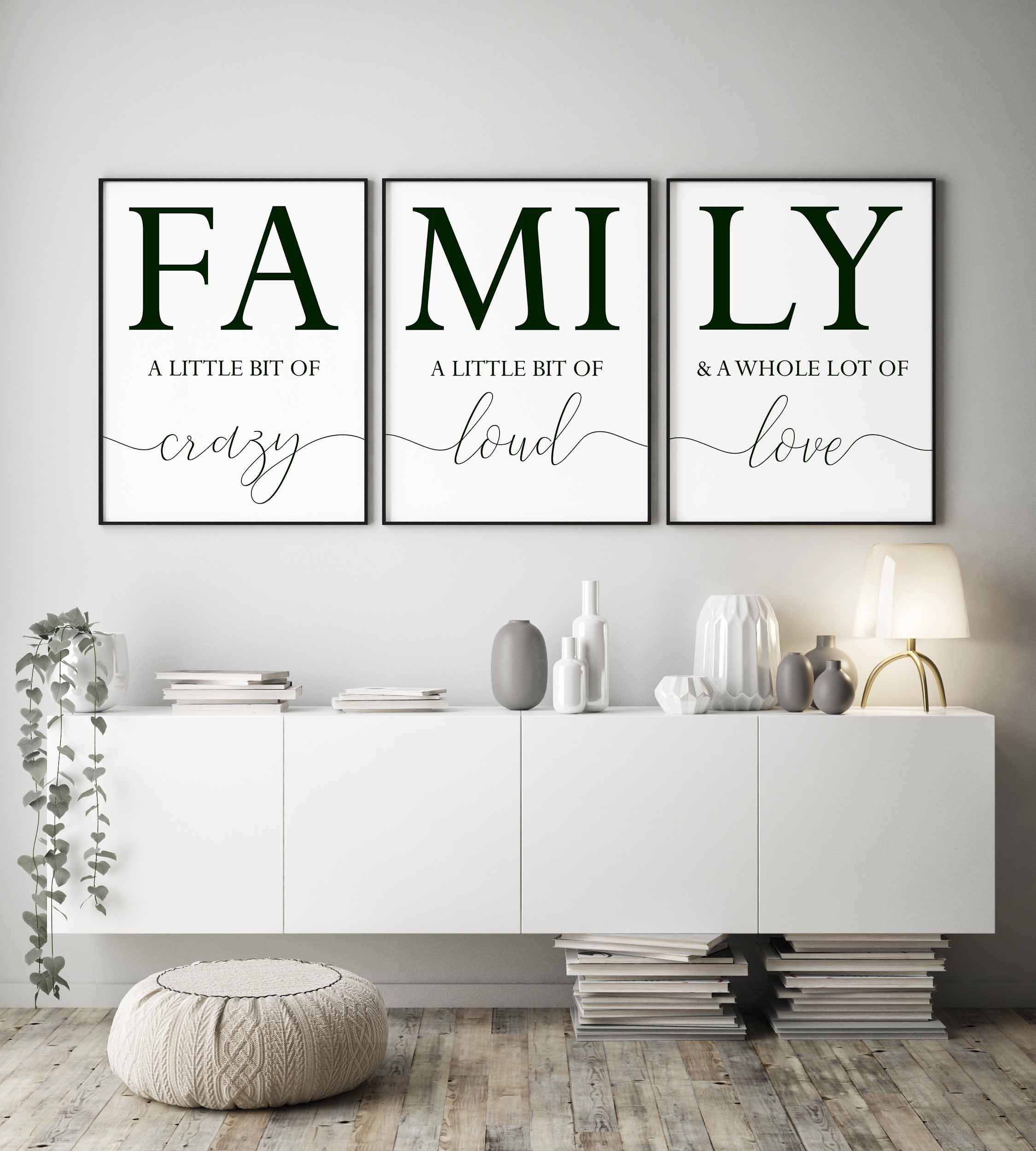 Family Signfamily A Little Bit Of Crazy Printset Of 3 Etsy Family Room Walls Wall Decor Bedroom Living Room Wall
