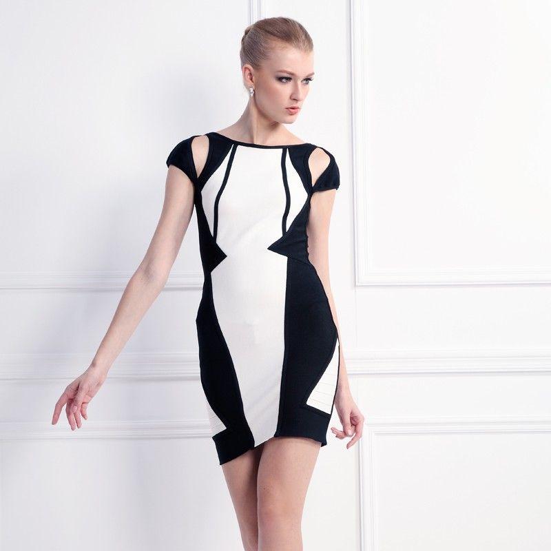 Black and White Bodycon Kleid Cocktailkleid   Kleider 2017 ...