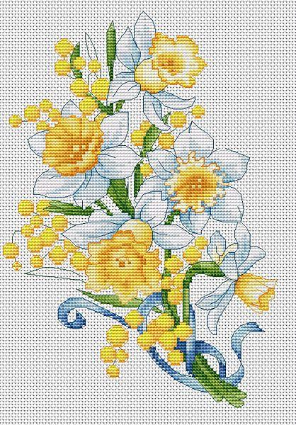 daffodils cross stitch kit  sewandso  cross stitch