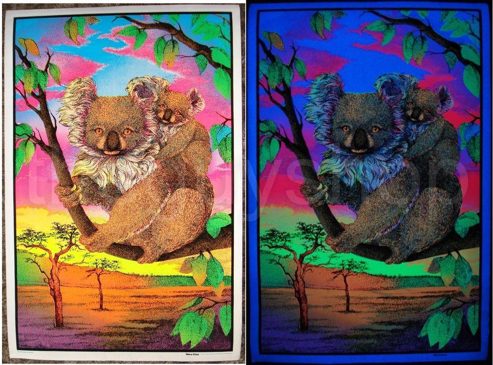 Vintage velvet KOALA blacklight poster Velva 1976 Australia outback 23x35 NOS #Vintage