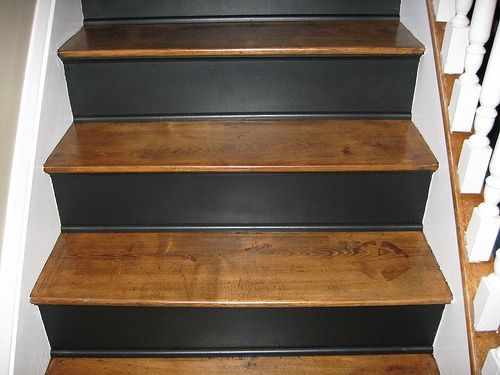 10 Ideas About Stair Risers On Pinterest Painted Steps Painted   Stained Stairs And Risers   Two Tone   Natural   Bead Board   Gray Painted   Finished