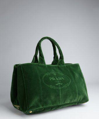 5d001e558c6cb Prada   green velvet tote bag
