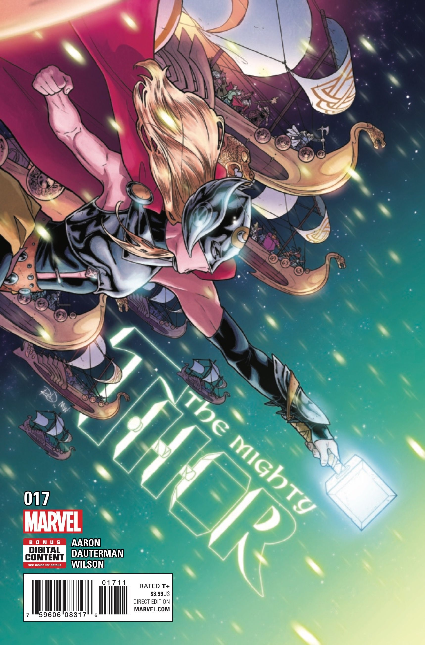 MIGHTY THOR (2015) #17 Published: March 15, 2017 Rating: Rated T+ Writer: Jason Aaron Penciller: Russell Dauterman Colorist: Matthew Wilson Cover Artist: Russell Dauterman The heavens rumble as the war between Asgard and the Shi'ar tears through space. Meanwhile, the Challenge of the Gods... Asgard, Jason Aaron, Marvel, Marvel Comics, Midgard, Mighty Thor, previews, Russell Dauterman, Shi'ar, Thor