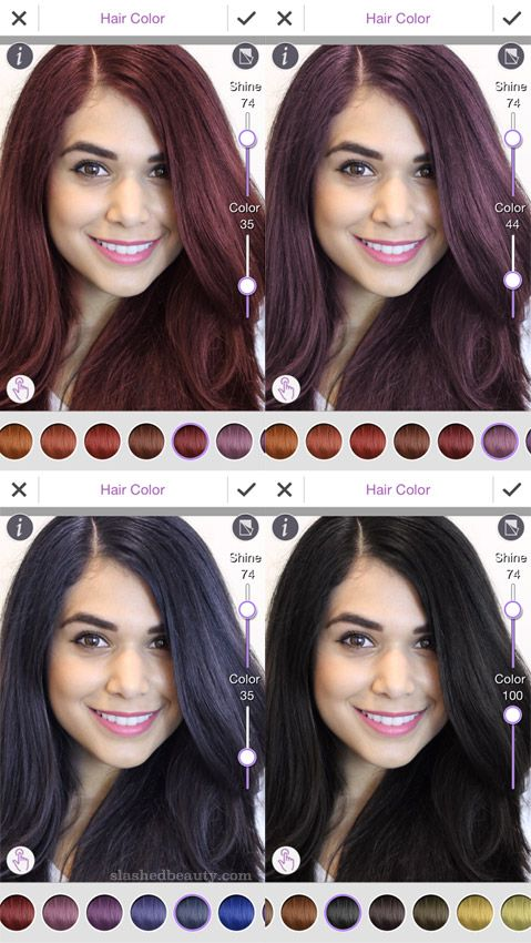 How To Try On Different Beauty Looks Virtually Slashed Beauty Hair Color Changer Virtual Hair Color Hairstyle App