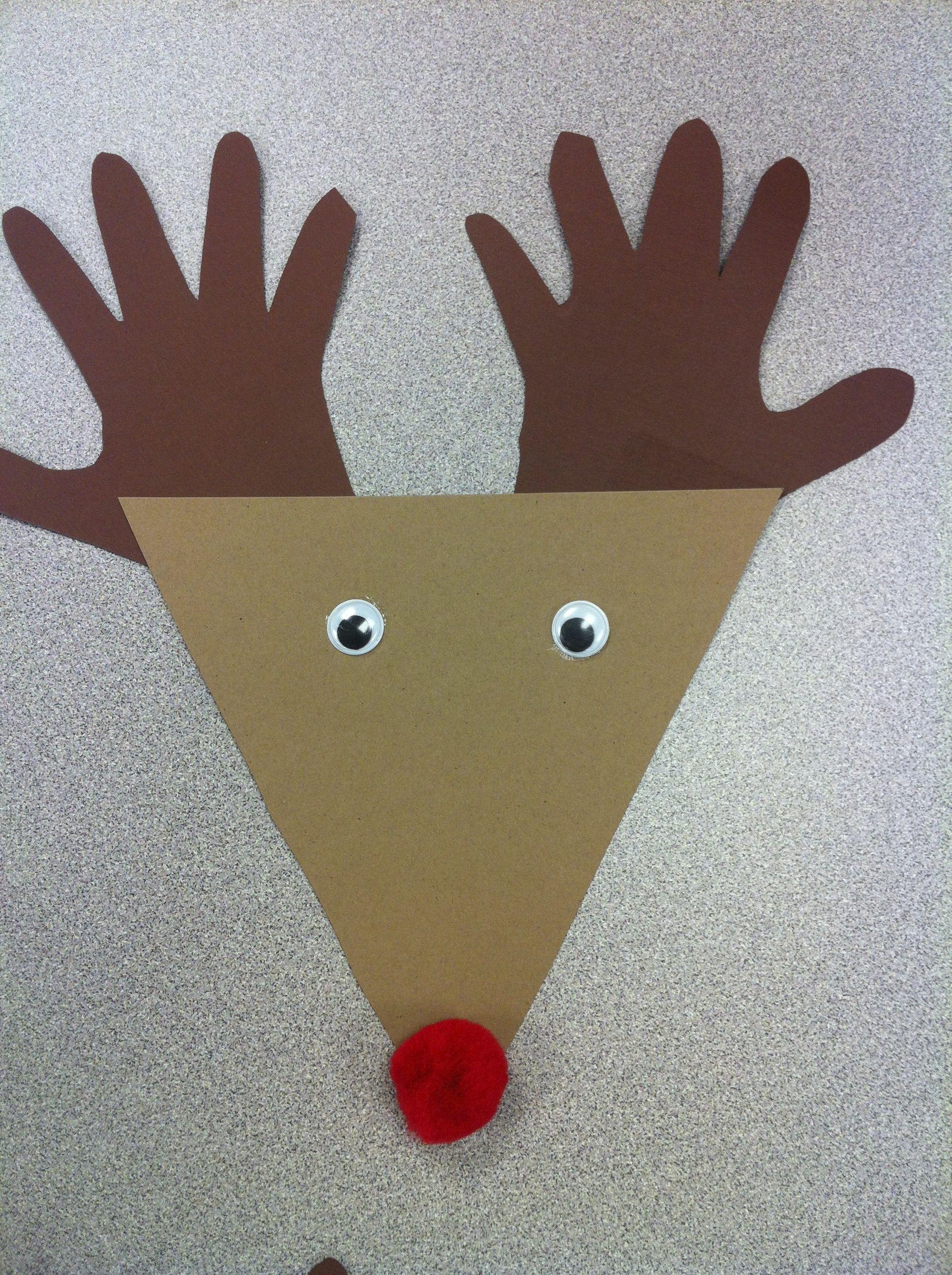 Handprint Reindeer Craft Letsgetreadyforkindergarten