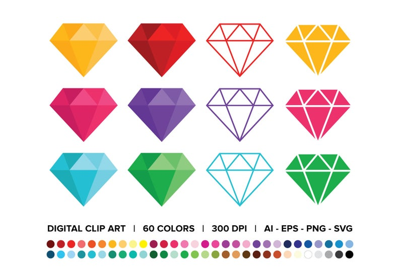 Diamond Clip Art Set Png Svg Vector Rainbow Color Crystal Etsy Clip Art Crystal Shapes Diamond Graphic