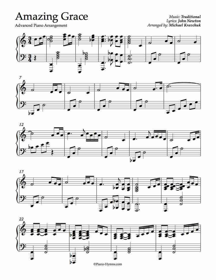 Amazing Grace Advanced Piano Arrangement Violin Sheet Music