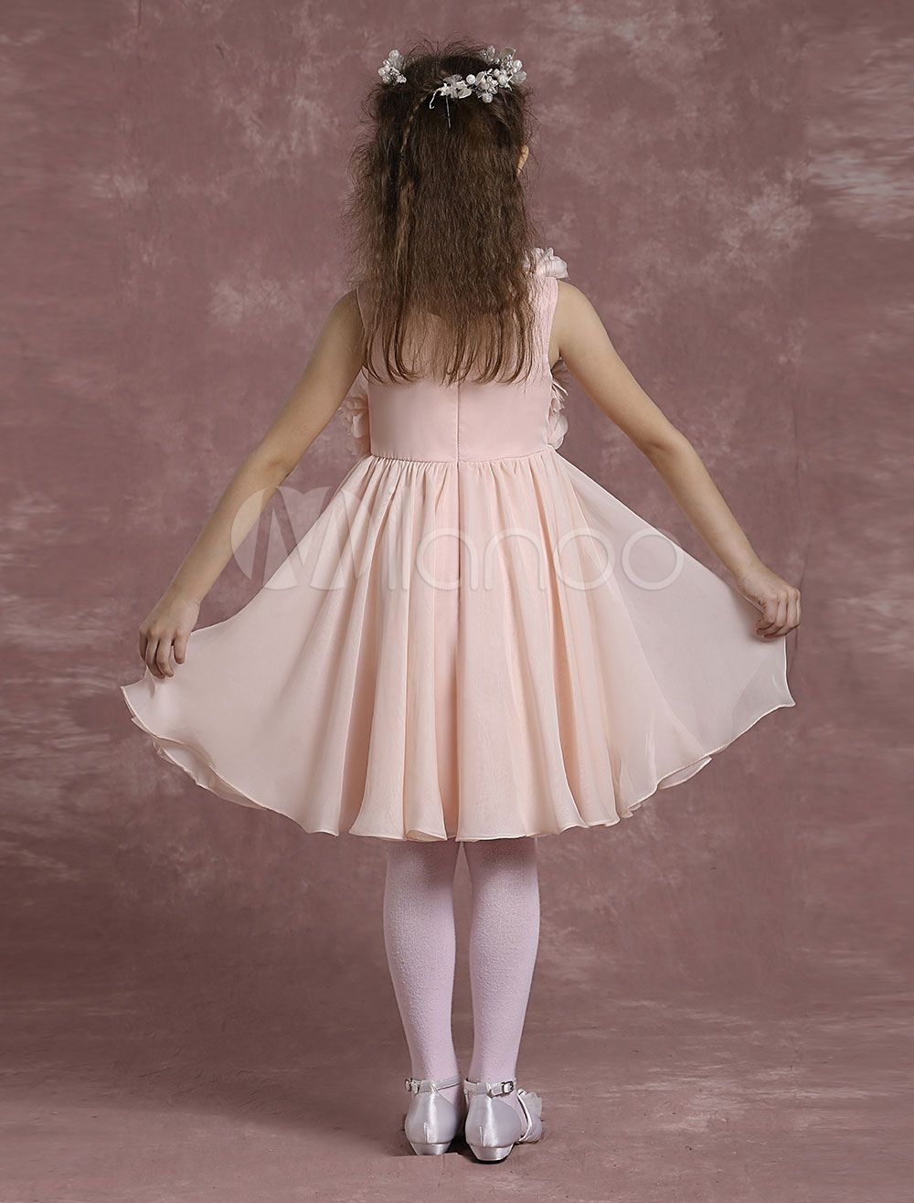 5ca11bc36be Pink Flower Girl Dresses A Line Chiffon Pageant Dresses Toddler s Pleated  Knee Length Dinner Dress With Flowers  Line