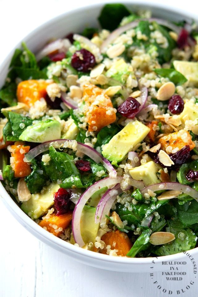 Roasted Sweet Potato, Spinach & Quinoa Summer Salad - Happily Unprocessed
