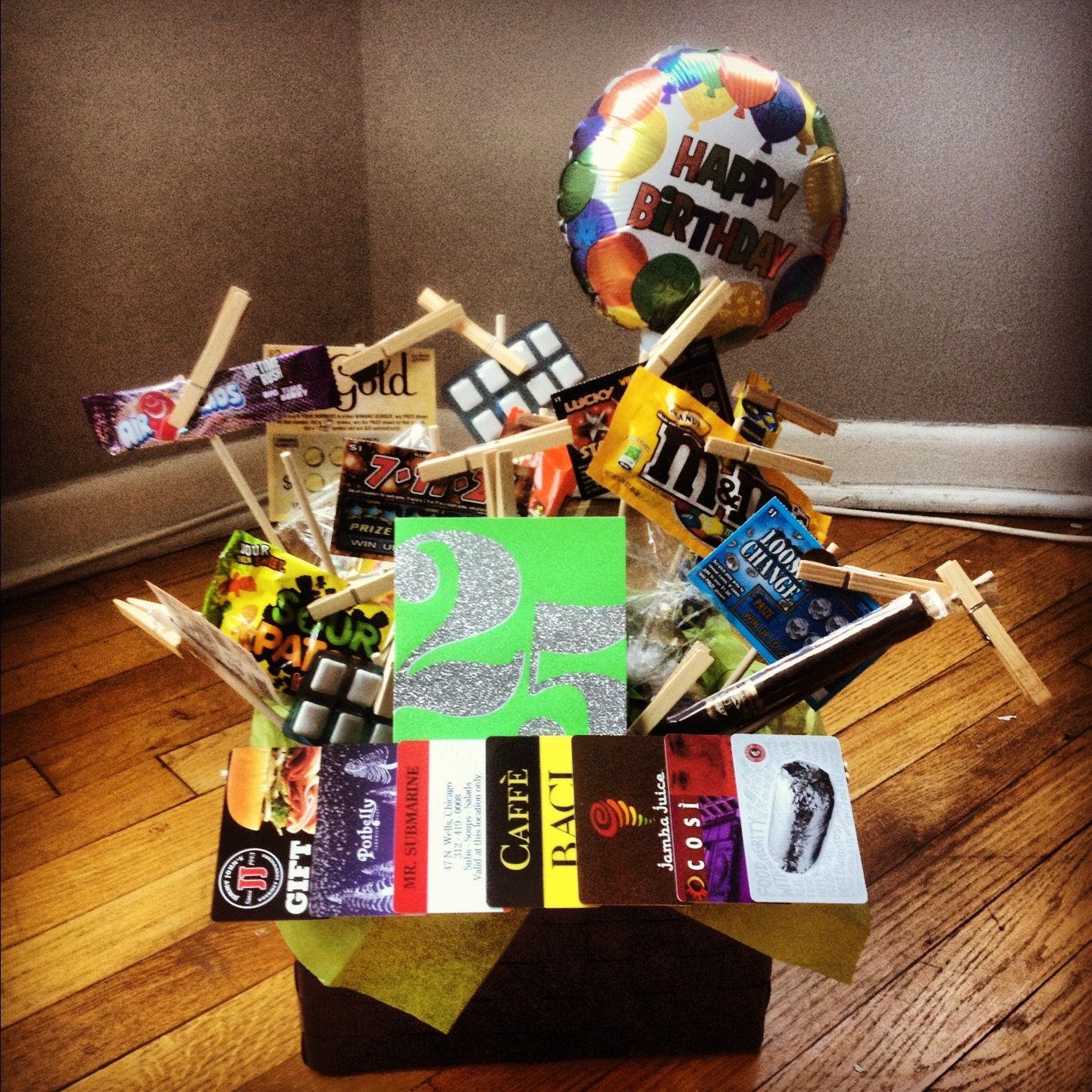 """25 gifts"" gift basket I made for Kyle's 25th birthday"