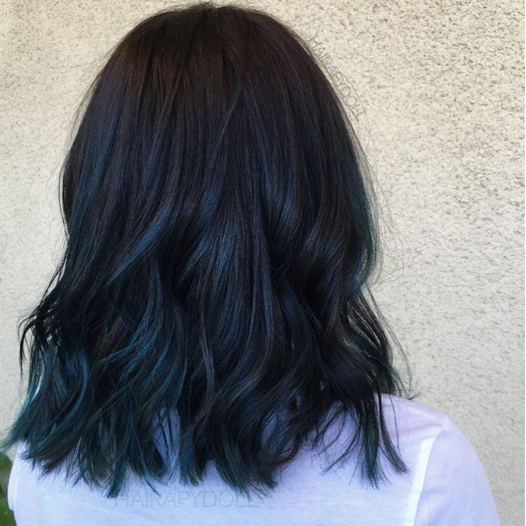 Pin By Alexandra Werth On Hair Dye Black Hair Tips Dark Blue