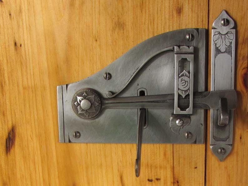 Door latch by seth gould the art of metalsmithing for Door lock latch