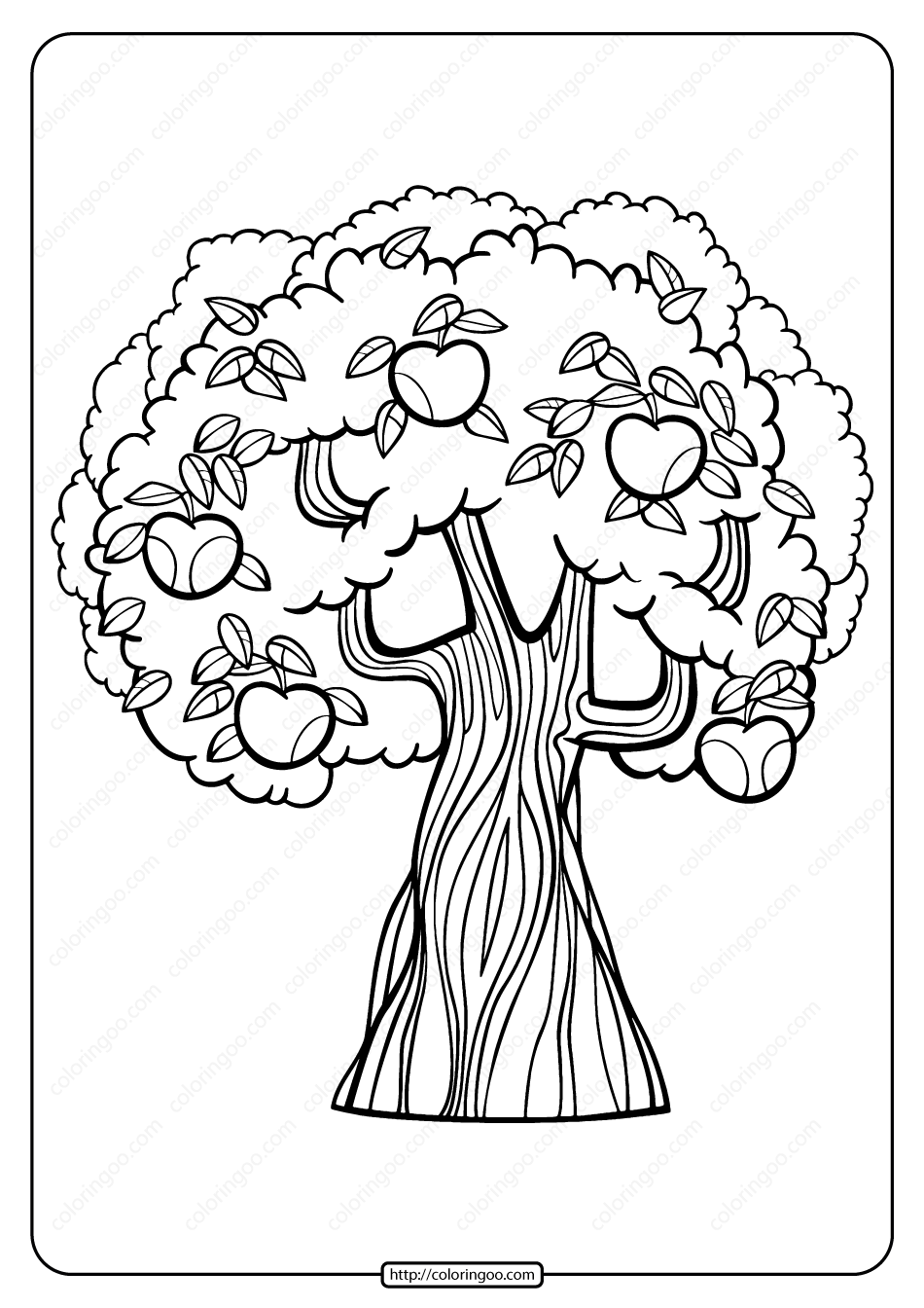 Printable Apple Tree Pdf Coloring Page Tree Coloring Page Witch Coloring Pages Fall Coloring Pages