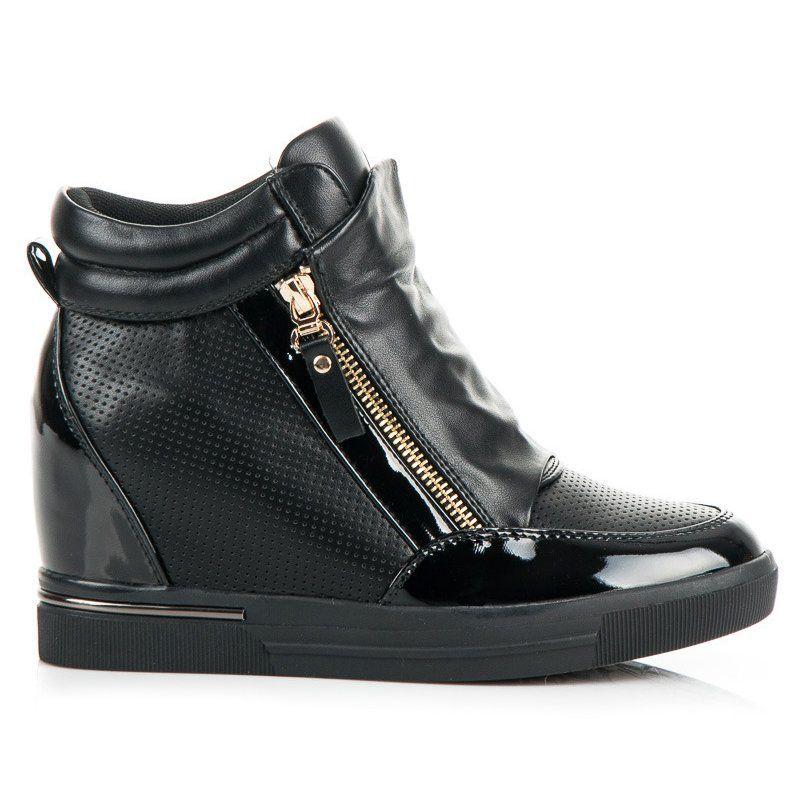 Sneakersy Na Koturnie Czarne Wedge Sneaker Sneakers Shoes