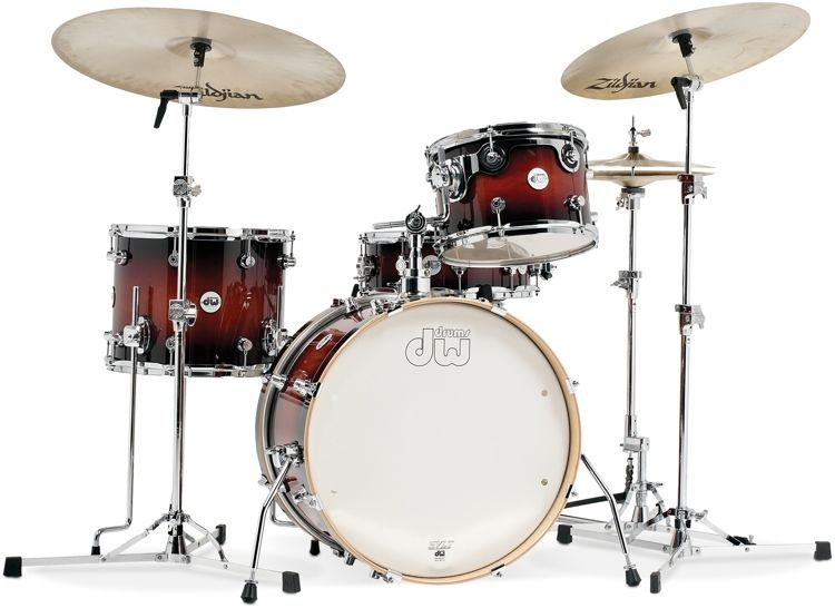 Dw Design Series Frequent Flyer 4pc Shell Pack Tobacco Burst In 2020 Gretsch Drums Gretsch Drums