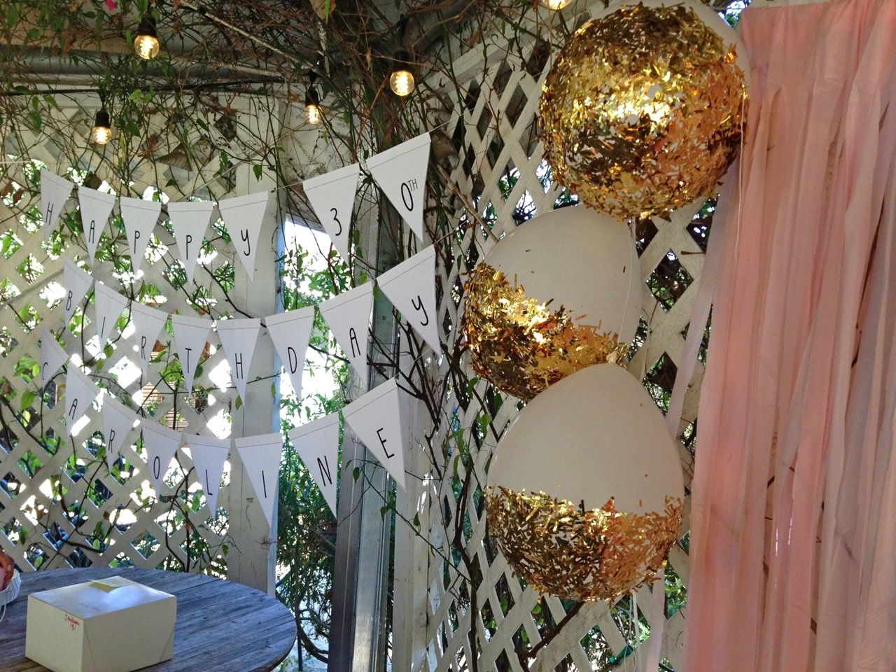 30th birthday at malibu wines gold confetti dipped for Confetti dipped balloons
