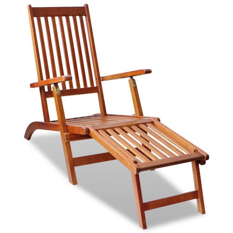 Outdoor Wooden Deck Chair Foldable Sun Lounger Footrest Garden Seat Adjustable