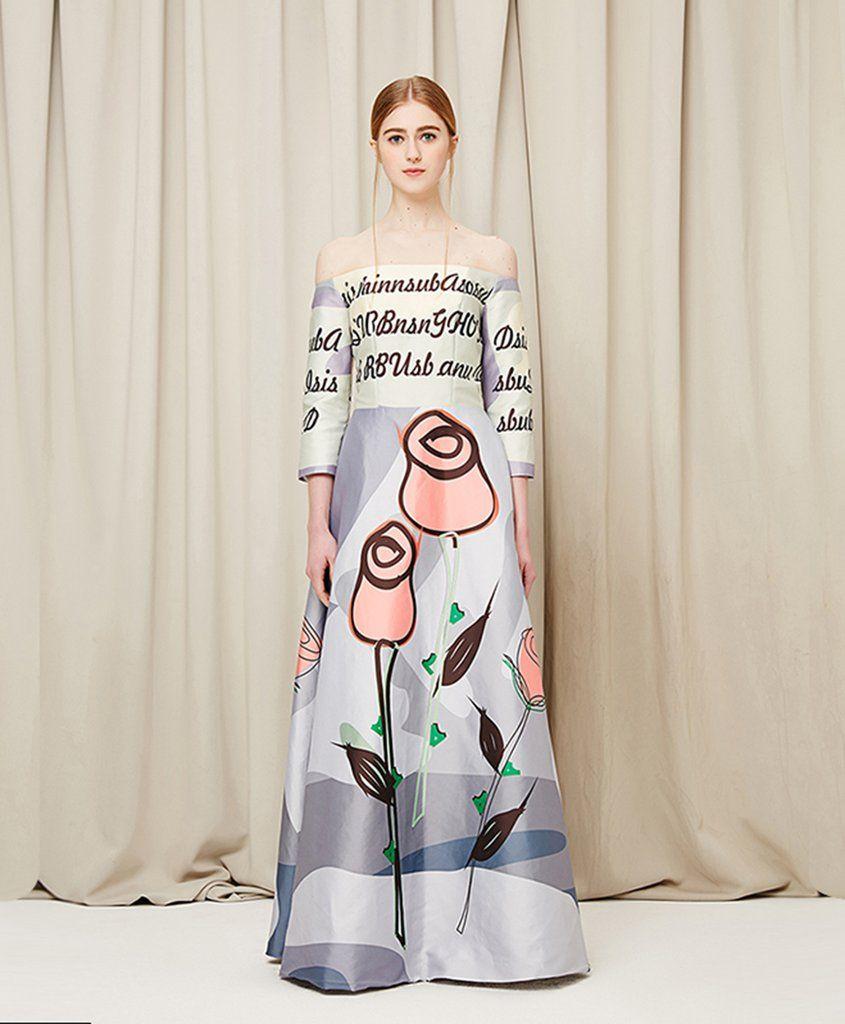 New off shoulder mid sleeve long floral evening dress long sweet