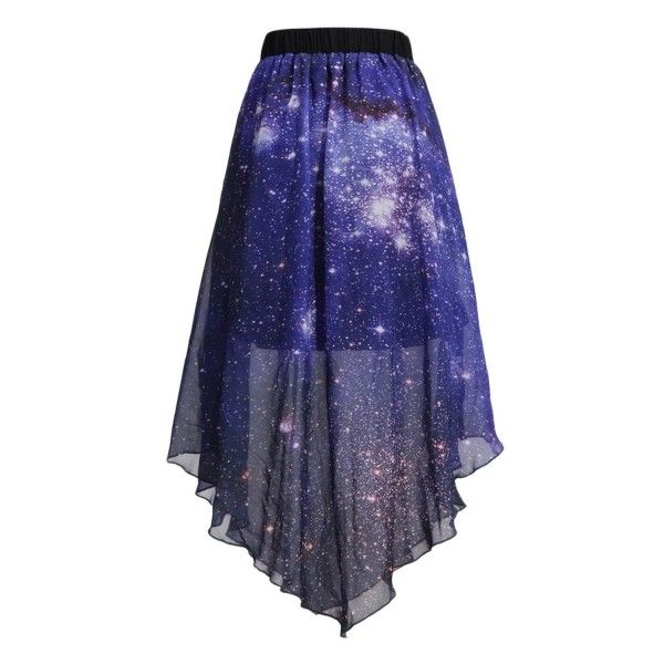 Pleated Chiffon Galaxy Cosmic Digital Printed Skirts (£29) ❤ liked on Polyvore featuring skirts, blue pleated skirt, chiffon skirts, blue chiffon skirt, cosmic skirt and galaxy skirt