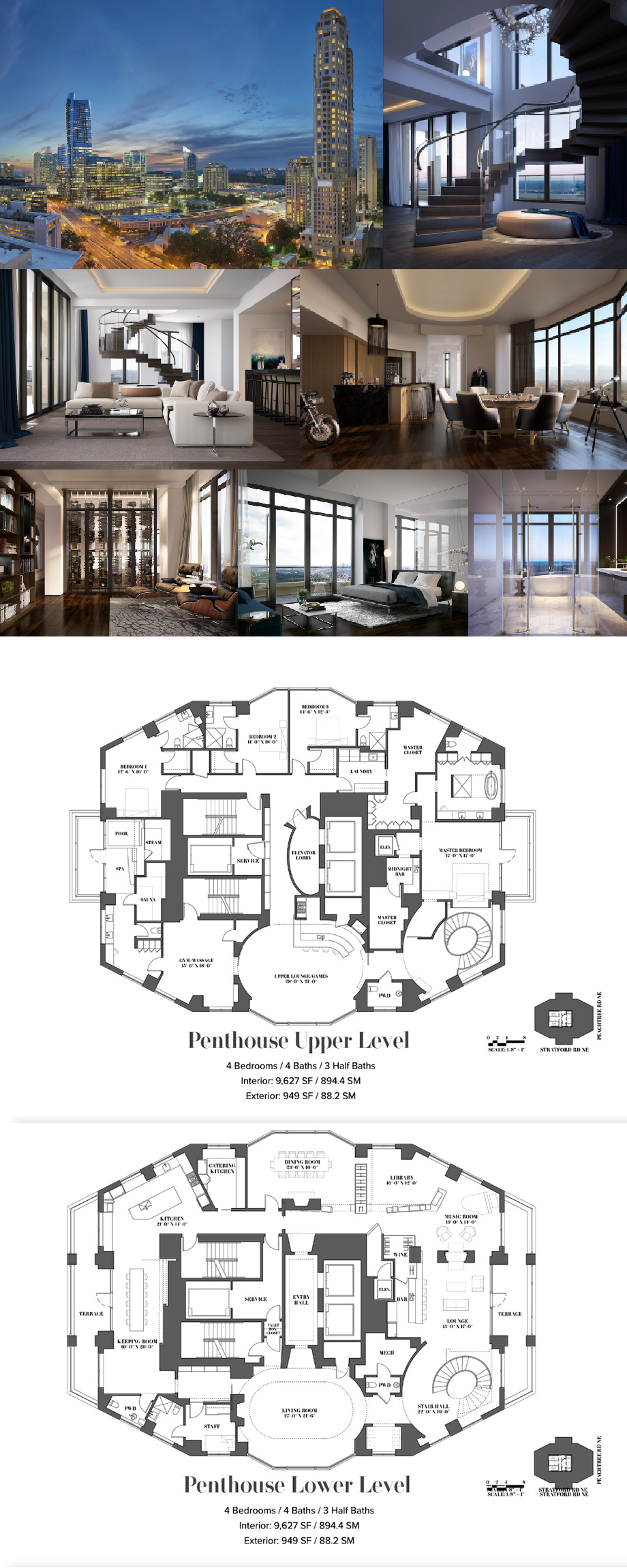 Mandarin Oriental Residences Atlanta Duplex Penthouse Mansion Floor Plan Penthouse Apartment Floor Plan Luxury Floor Plans