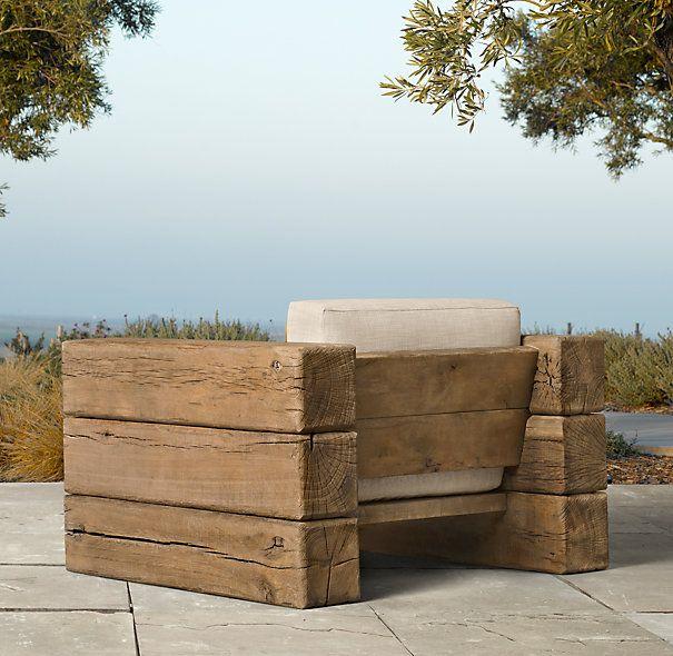 outdoor sessel aus holzbalken r ckansicht garten. Black Bedroom Furniture Sets. Home Design Ideas