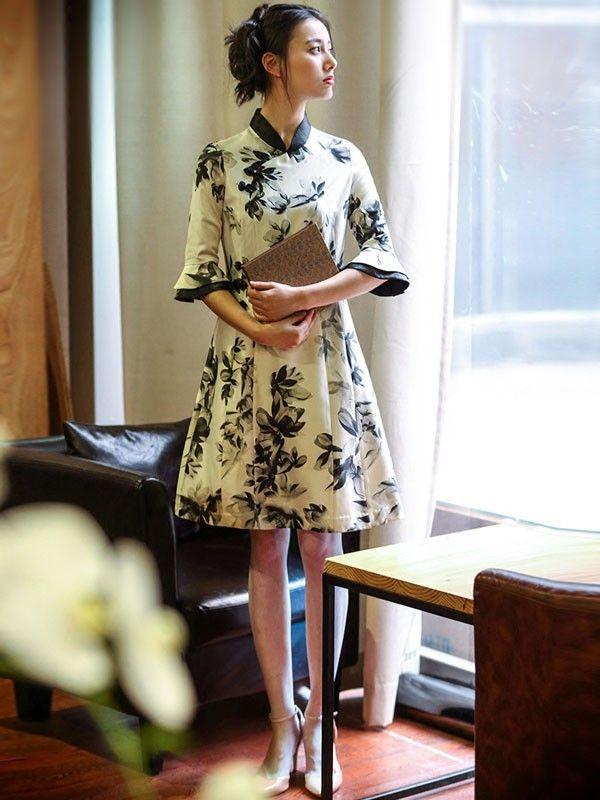Frill Sleeve Modern Qipao   Cheongsam Dress in Floral Print ... 1c0a56be9e