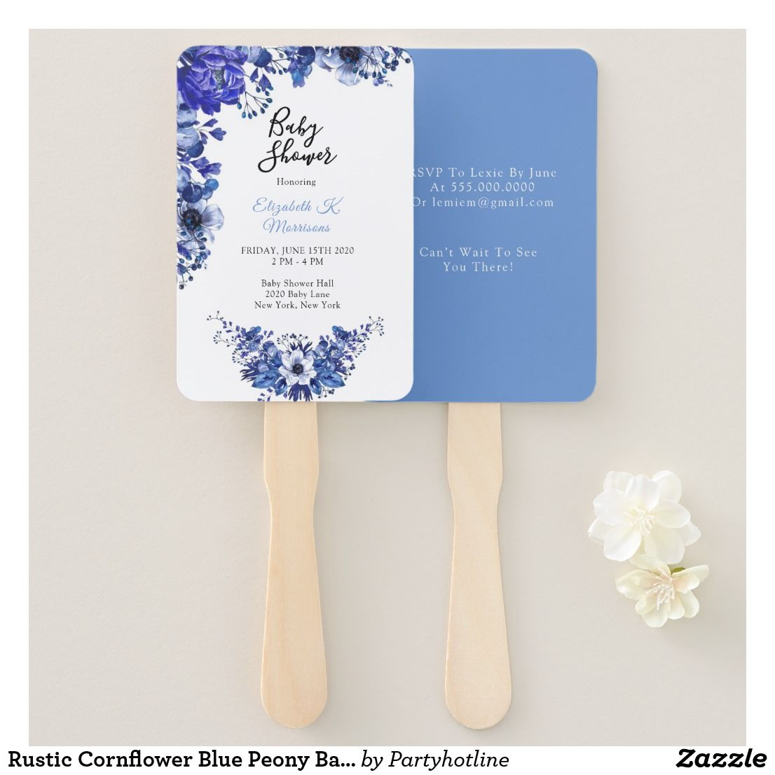 Rustic Cornflower Blue Peony Baby Shower Hand Fan | Zazzle.com #bluepeonies