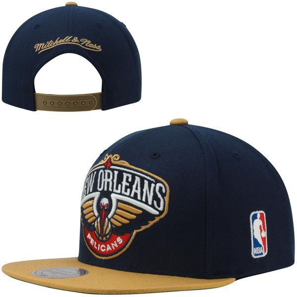 finest selection 3cba5 769b1 Mitchell   Ness New Orleans Pelicans XL Logo 2-Toned Snapback Hat - Navy  Blue Gold -  25.99