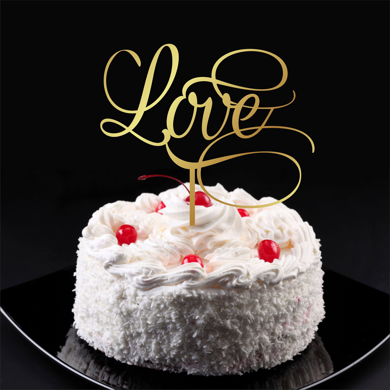 Cake topper love gold wedding cake topper love please send