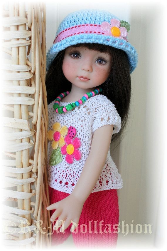 """OOAK Hand Knit Outfit """"Spring Day"""" for Effner Little Darling 13"""" Dolls 